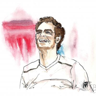 Andy Murray looking triumphant after winning a tennis match