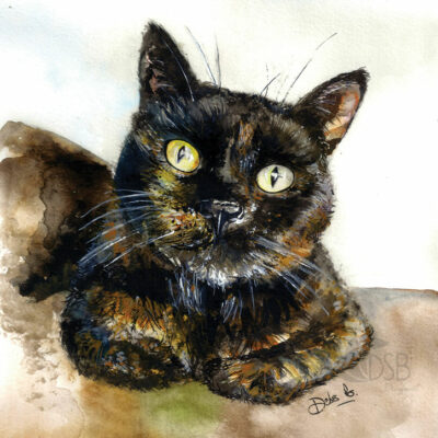 Watercolour painting with pen details of a black cat with green-amber eyes