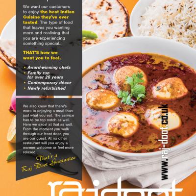 Advert for Rajdoot Indian Restaurant