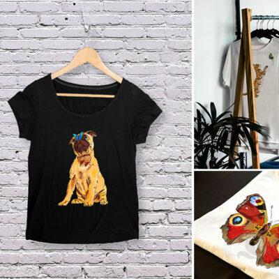 A series of digital merchandise illustrations