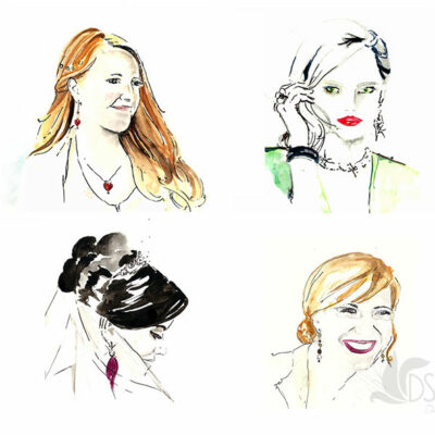 Inspired by Parkhouse Jeweller's campaign, here are some drawings of friends wearing my favourite jewellery.