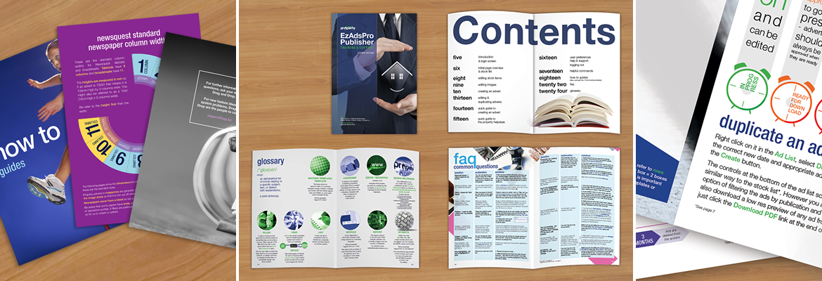 Magazine style manuals - front covers, content and infographic snippets