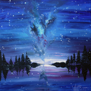 An acrylic painting on canvas of a starry night sky.