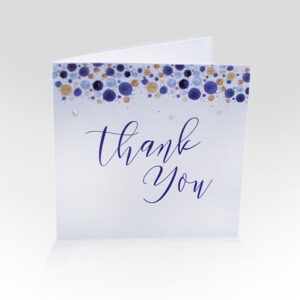 Confetti thank you card in blues and golds with 3D dotted highlights