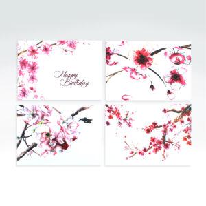 Watercolour cherry blossom card set